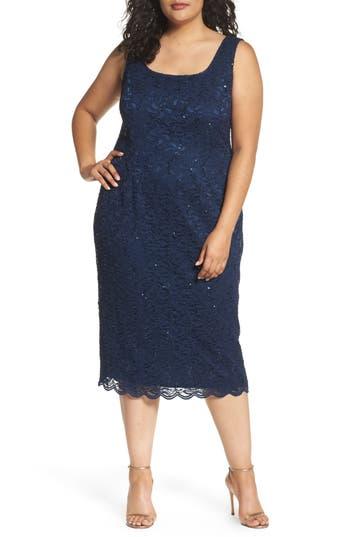 Plus Size Alex Evenings Lace Dress & Jacket, Blue