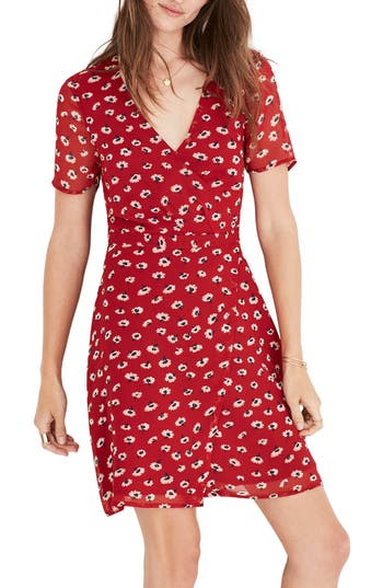 Women's Madewell Floral Faux Wrap Dress, Size 00 - Red