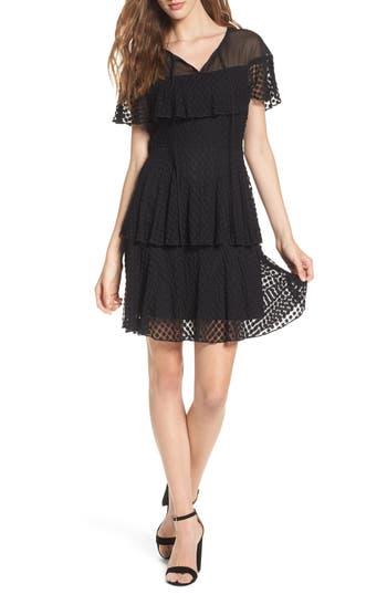 Nsr Dot Lace Fit & Flare Dress, Black