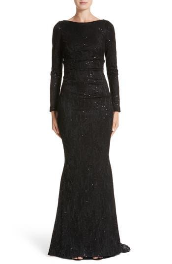 Talbot Runhof Sequin Lace Mermaid Gown, Black