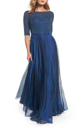 La Femme Embellished Bodice Gown, Blue