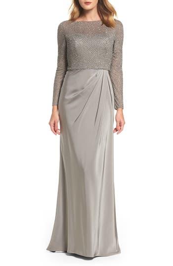 La Femme Bead Embellished Gown, Grey