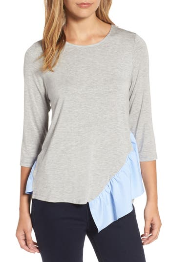 Pleione Wraparound Ruffle Hem Sweater, Grey
