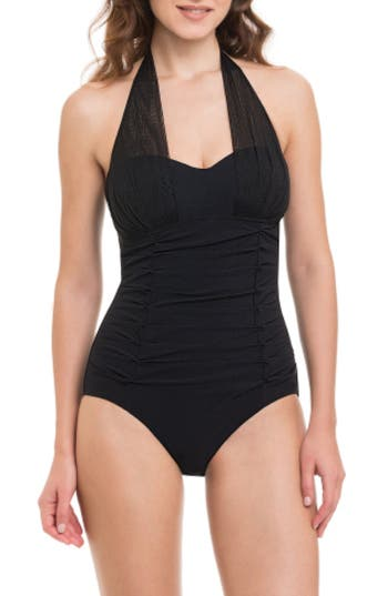 Profile By Gottex Origami One-Piece Swimsuit, Black