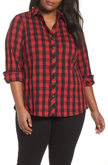 Plus Size Foxcroft Mary Crnkled Buffalo Check Shirt, Red