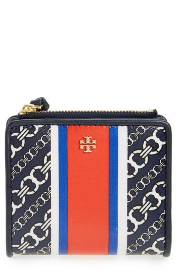 Tory Burch Mini Gemini Link Coated Canvas Wallet - Blue