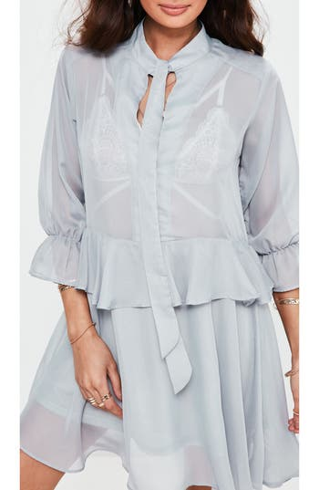 Missguided Tie Neck Ruffle Dress, US / 4 UK - Grey
