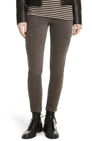 Vince Skinny Corduroy Cargo Pants, Grey