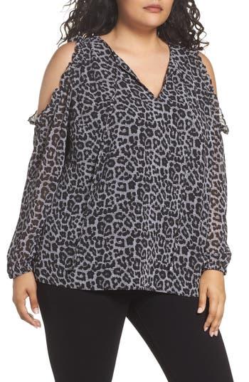 Plus Size Women's Michael Michael Kors Leopard Print Cold Shoulder Top