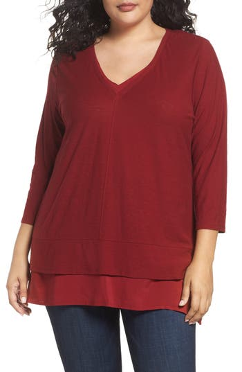 Plus Size Two By Vince Camuto Woven Hem V-Neck Top, Red