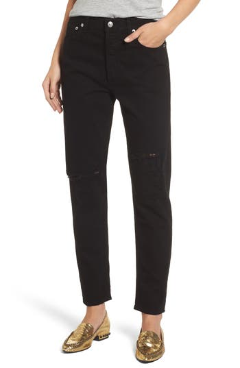 Agolde Jamie High Rise Ankle Jeans, Black