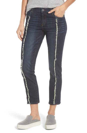 Kut From The Kloth Reese Frayed Seam Ankle Straight Jeans, Blue
