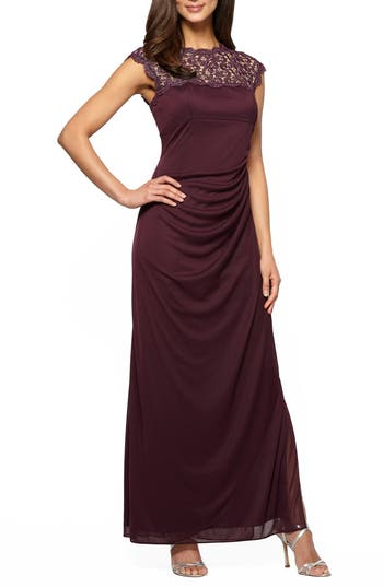 Alex Evenings Illusion Yoke Mesh Gown, Purple