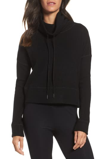 Ugg Funnel Neck Crop Merino Wool Sweatshirt, Black