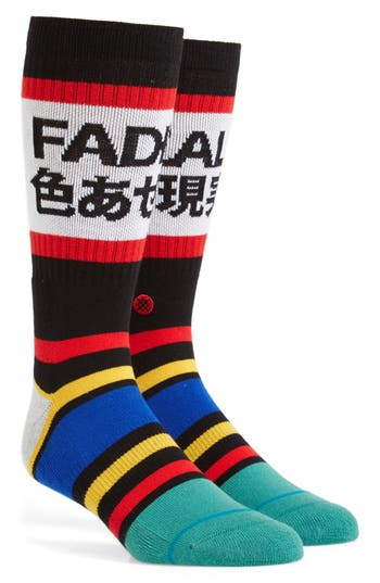 Men's Stance Fade Out Crew Socks, Size Large - Black