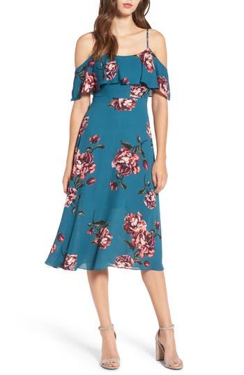 Soprano Floral Popover Cold Shoulder Dress, Blue/green