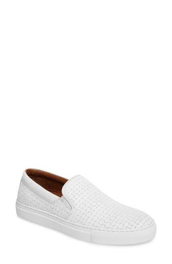 Aquatalia Ashlynn Embossed Slip-On Sneaker, White