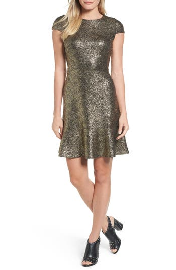 Michael Michael Kors Foil Knit Cap Sleeve Dress, Grey