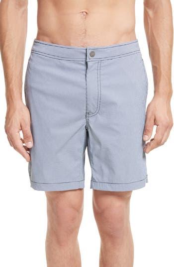 Onia Calder Gingham Board Shorts, Blue