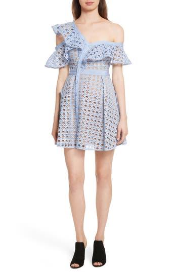 Self-Portrait Lace Frill Minidress, Blue