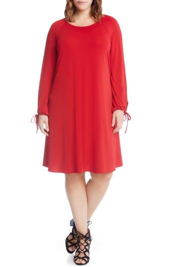 Plus Size Karen Kane Tie-Sleeve Shift Dress, Red