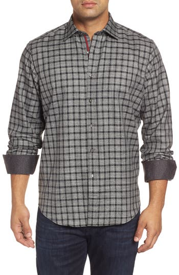 Men's Bugatchi Classic Fit Heathered Windowpane Sport Shirt
