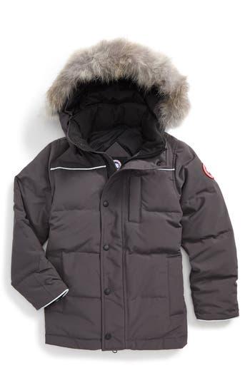 Boys Canada Goose Eakin Genuine Coyote Fur Trim Down Parka