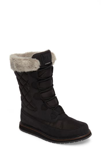 Helly Hansen Arosa Waterproof Boot With Faux Fur Trim, Black