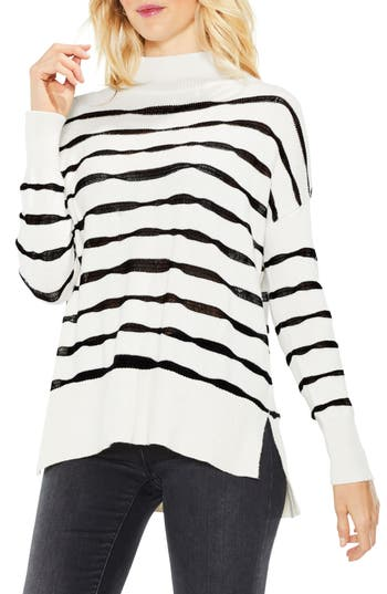 Women's Two By Vince Camuto Mock Neck Stripe Sweater, Size XX-Small - White
