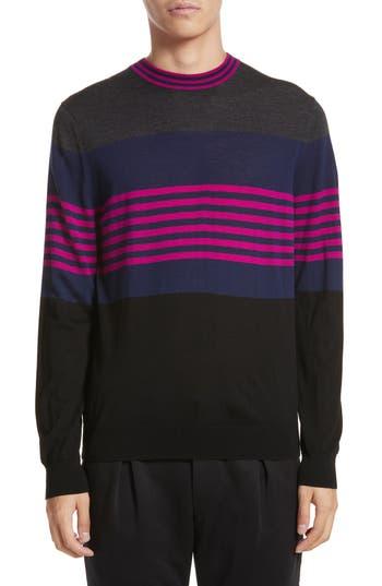 Paul Smith Stripe Merino Wool Crewneck Sweater, Grey
