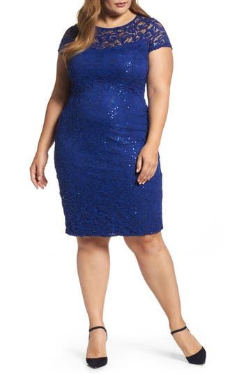 Plus Size Marina Sequin Lace Sheath Dress, Blue