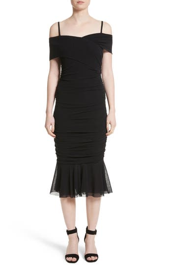 Fuzzi Ruched Tulle Off The Shoulder Dress, Black