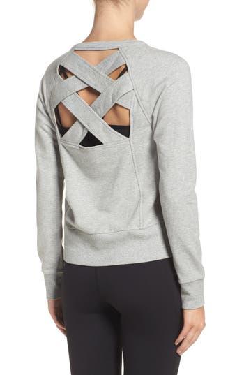 Zella Covet Crisscross Sweatshirt, Grey