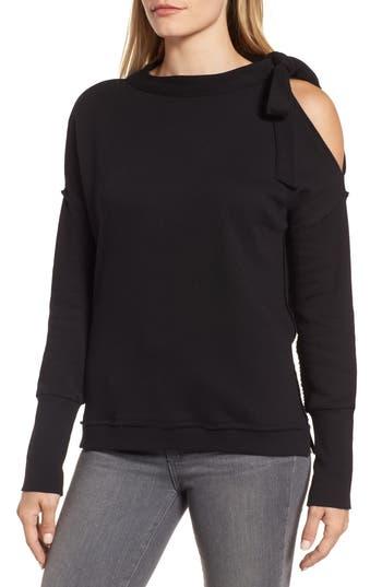 Caslon Tie Cold Shoulder Sweatshirt, Black