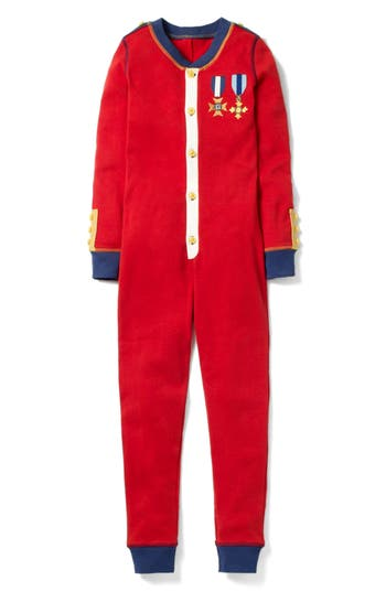 Toddler Boys Mini Boden Holiday Soldier Fitted OnePiece Pajamas Size 3Y  Red