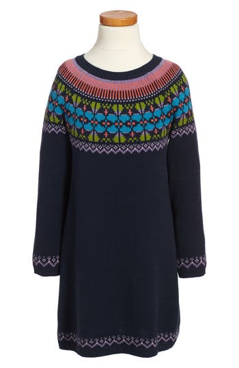 Girls Tea Collection Sheep Rock Fair Isle Sweater Dress Size 4  Purple