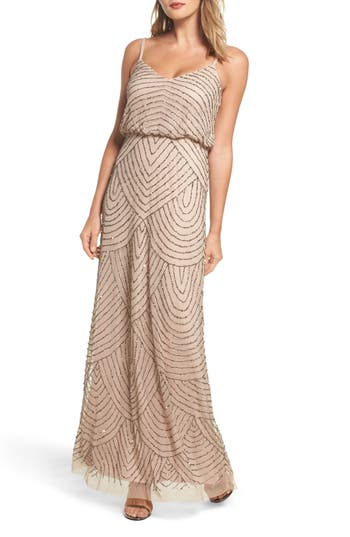 Adrianna Papell Embellished Blouson Gown, Metallic