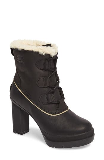 Sorel Dacie Genuine Shearling Cuff Waterproof Boot, Black