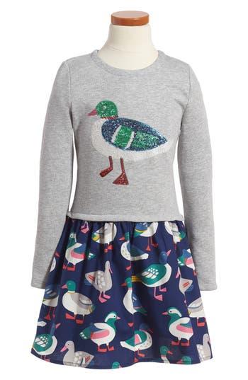 Girl's Mini Boden Sequin Applique Sweater Dress, Size 4-5Y - Grey