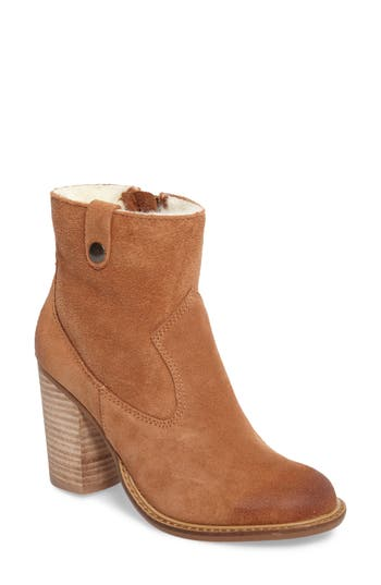 Kelsi Dagger Brooklyn Legion Bootie With Faux Shearling Lining- Brown