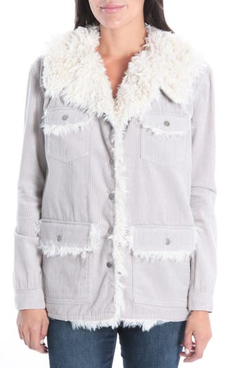 Women's Kut From The Kloth Kirsten Faux Shearling Lined Jacket, Size X-Small - Grey