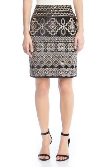 Karen Kane Front Sequin Skirt, Black