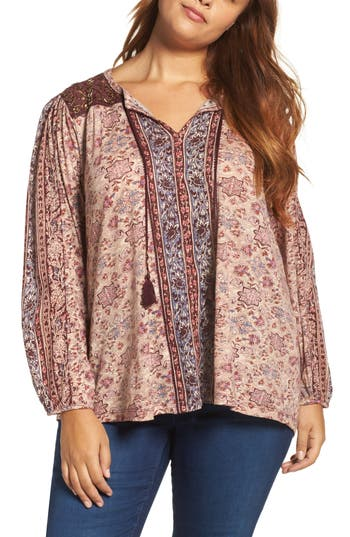 Plus Size Lukcy Brand Beaded Mixed Print Top, Red