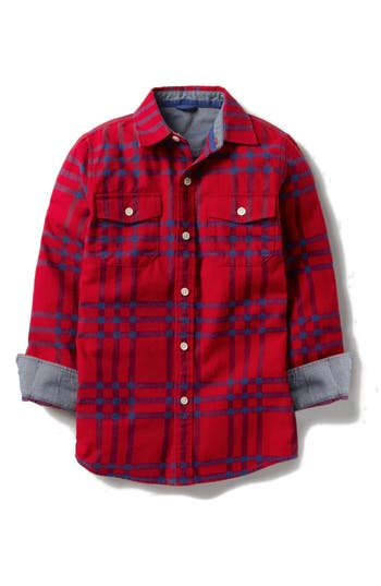 Boy's Mini Boden Brushed Check Flannel Shirt, Size 4-5Y - Red