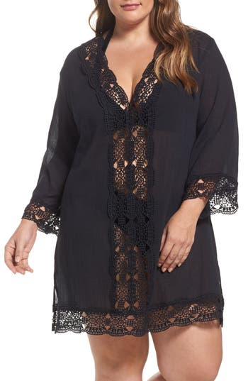 Plus Size La Blanca Island Fare Cover-Up Tunic, Black