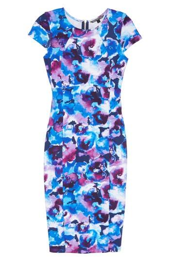 Felicity & Coco Wardess Floral Ponte Sheath Dress, Blue