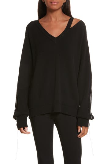 Women's Helmut Lang Distressed V-Neck Sweater, Size X-Small - Black