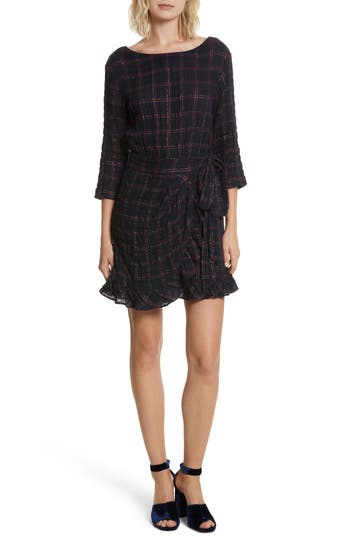 La Vie Rebecca Taylor Metallic Plaid Dress, Blue