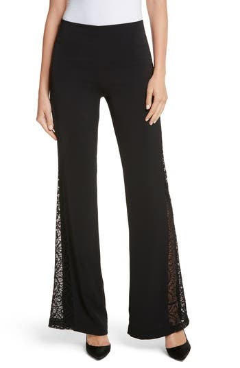 Alice + Olivia Mandy Side Panel Flared Pants, Black