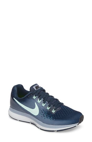 NIKE Air Zoom Pegasus 34 Running Shoe, Armory Navy/ Mint/ Grey/ Black